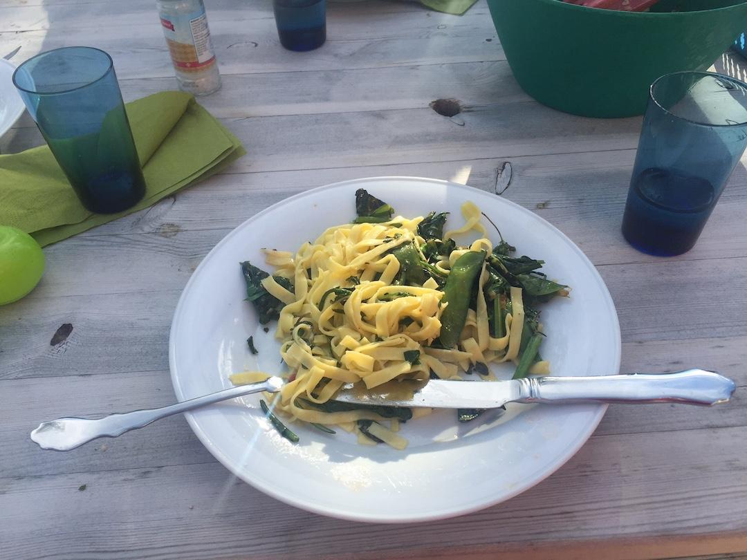 This meal of pasta and fried vegetables marked the first time a plant had been cooked and eaten that had had its genome edited with the CRISPR-Cas9 tool