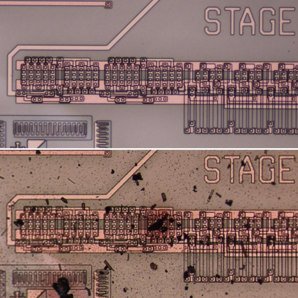 Integrated circuit before (above) and after (below) testing in Venus atmospheric conditions