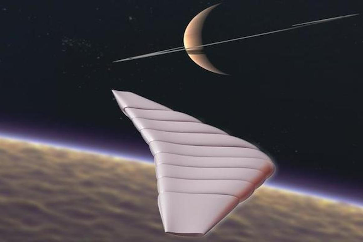 The Titan Winged Aerobot is a hybrid balloon/glider that could one day be exploring the skies of Saturn's moon, Titan