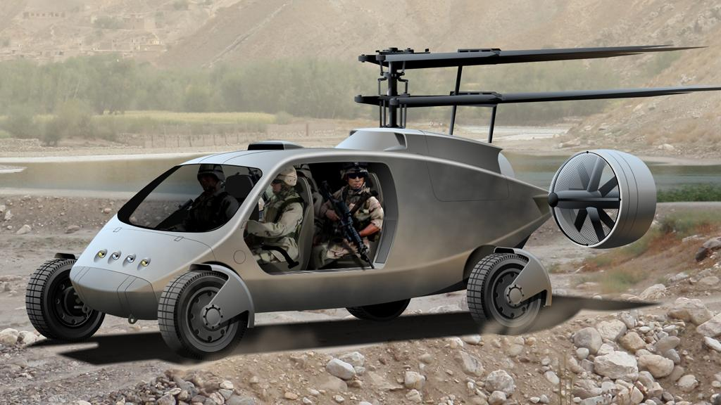The AVX TX fly-drive vehicle can reach speeds of 80mph on land