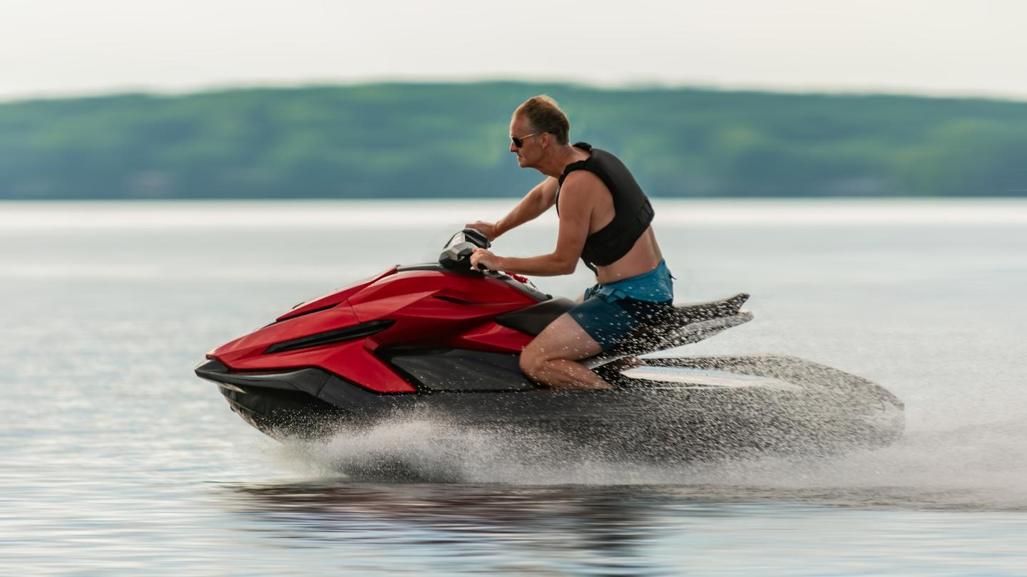 The Orca Performance edition personal watercraft (shown) can get up to 65 mph, while the Sport edition tops out at 56 mph