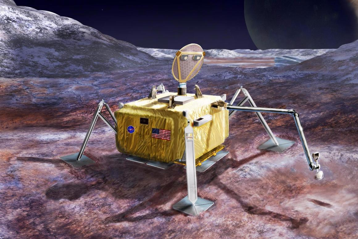 Artist's rendering ofa conceptual design for a potential future mission to land a robotic probe on the surface of Jupiter's moon Europa