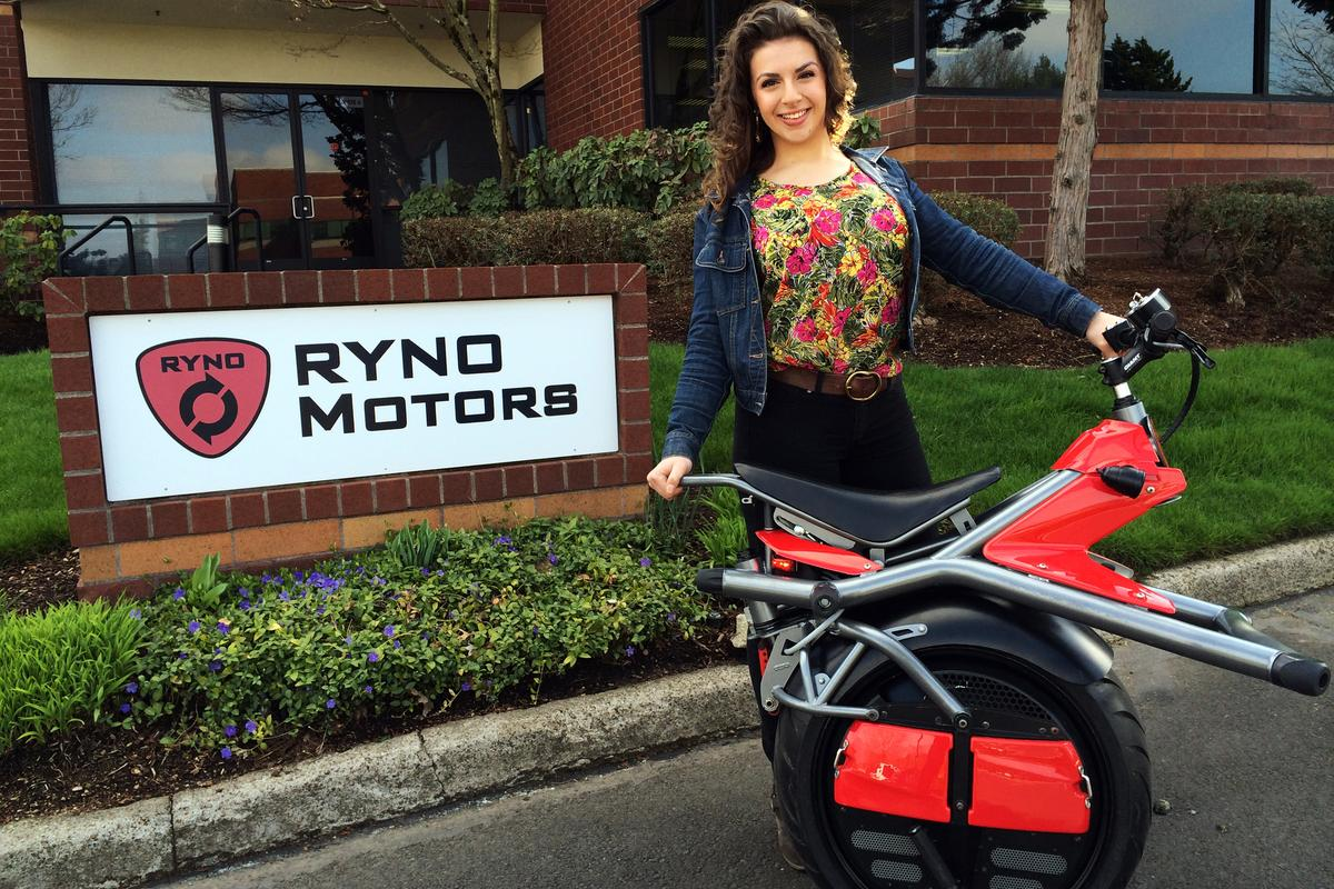 In the next few months, Chris Hoffmann's start-up Ryno Motors begins shipping its self-balancing, one-wheeled US$5250 personal mobility device that has caused tidal waves of interest across the internet with global distribution and manufacturing on several continents in planning. That's Chris' very proud daughter Lauren, now 20 years of age. Her inquisitive mind as a 13-year-old catalysed this magical story.
