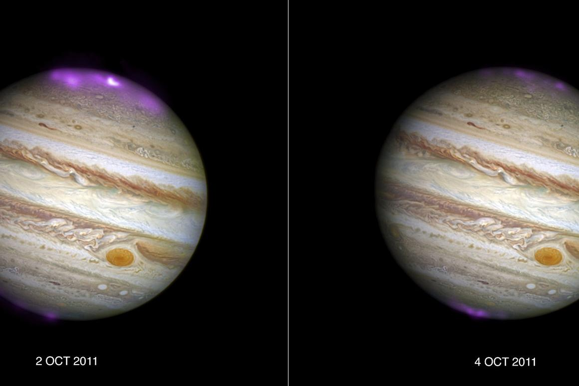 Chandra X-ray data is overlayed on a Hubble image of Jupiter in these images displaying the solar storm arriving at the gas giant (left) and subsequently dissipating (right)