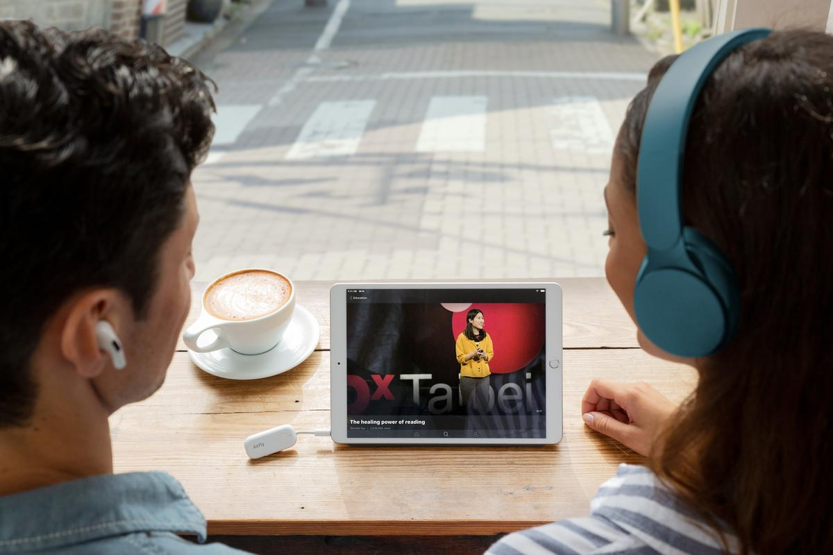The AirFly Pro adapter supports simultaneous pairing to two sets of Bluetooth headphones/earphones