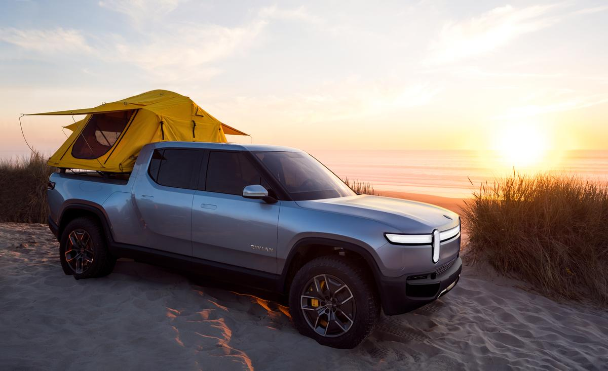 Rivian is pushing the R1T as an on/off-road adventure truck