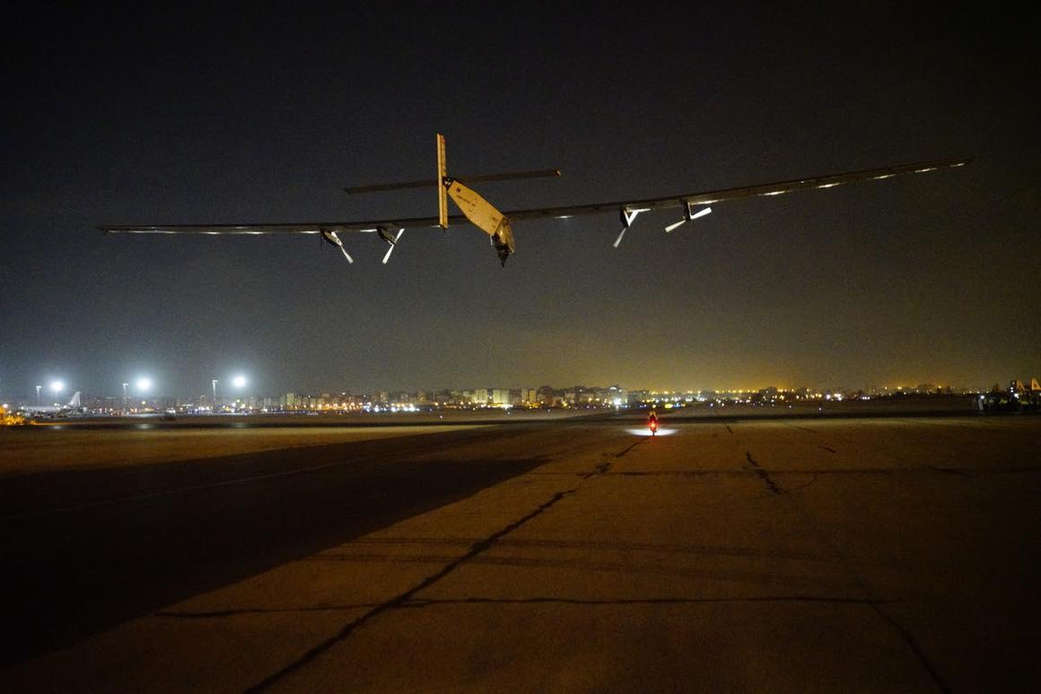 Solar Impulse 2 taking off from Cairo International Airport
