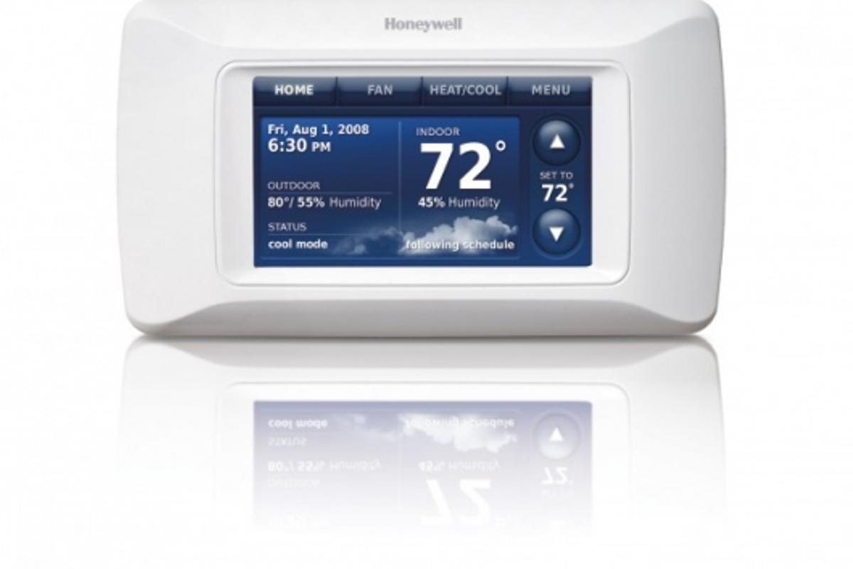 The Honeywell Prestige HD programmable thermostat features a full-color, high-definition touchscreen interface