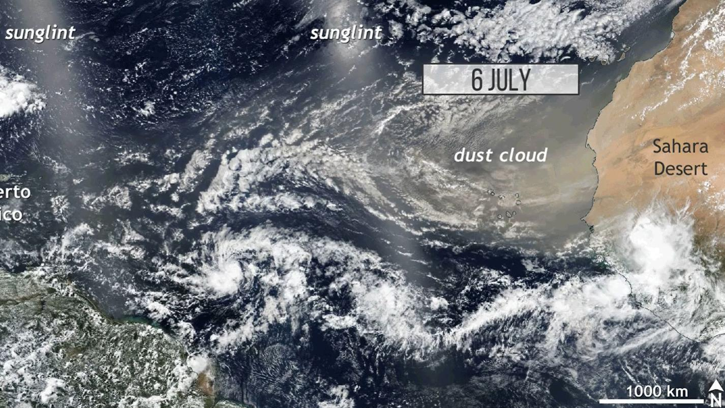 Satellite imagery of dust being carried away from the Sahara by an atmospheric wind river