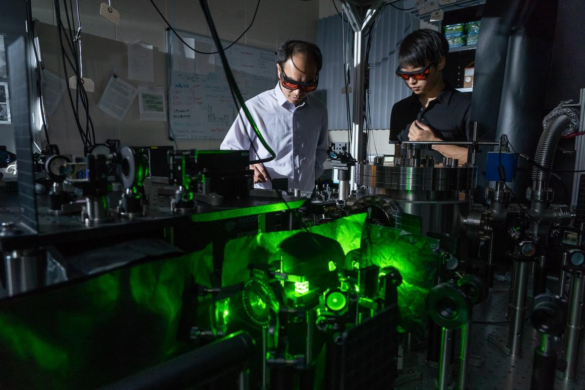 "Using a high-powered laser, researchers at Purdue University have set a microscopic ""dumbbell"" spinning at 60 billion rpm, making it the fastest spinning object ever made"