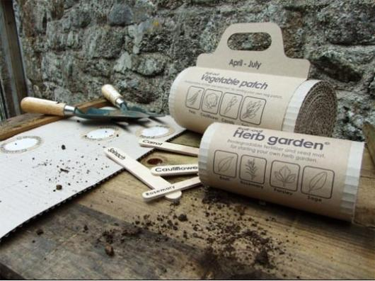 Lack of time or a green thumb is no longer an issue with the Roll-out Veg Mat and Herb Gardens, pre-sown-and-fertilized corrugated cardboard seed mats - just add soil and water!