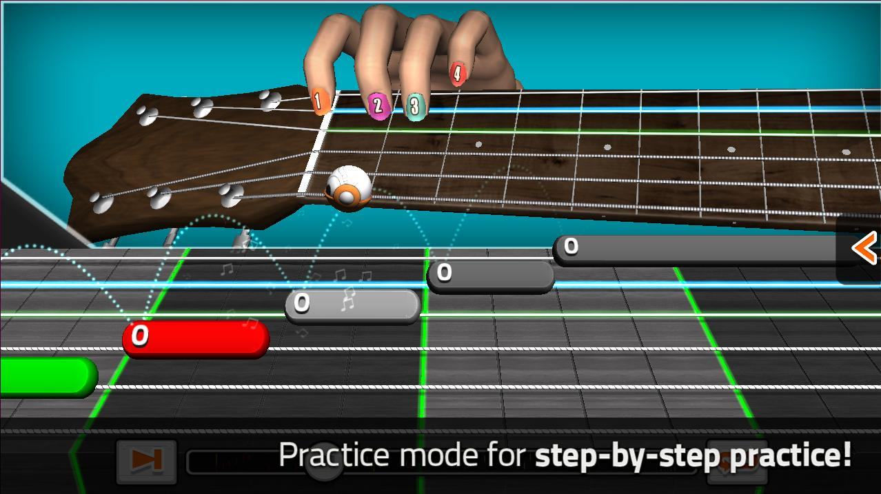 The GuitarBots practice mode walks players through songs at their own pace, showing finger position and timing