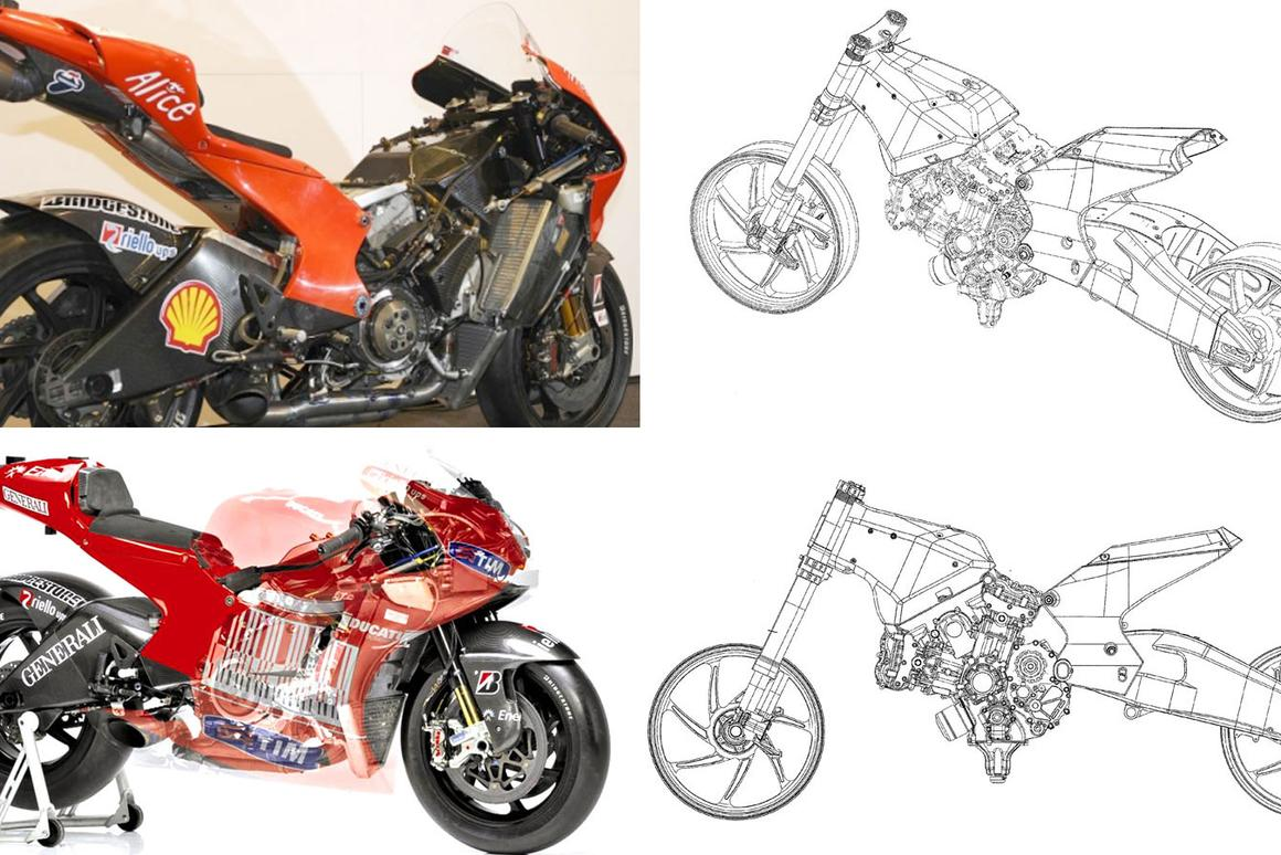 Clockwise from top left: the 2009 MotoGP Desmosedici GP9, two patent application drawings and recently released see-through illustration of the 2010 MotoGP Desmosedici GP10