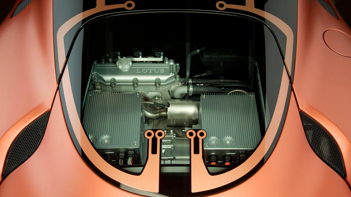 A glass engine cover puts the Lotus Evora 414E concept car's 1.2 liter, three-cylinder engine on show