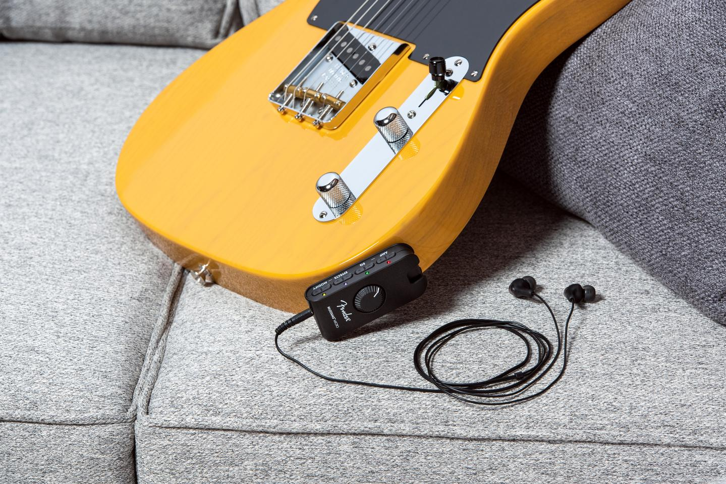 A guitar, a Mustang Micro and a set of earbuds is all you need to get going