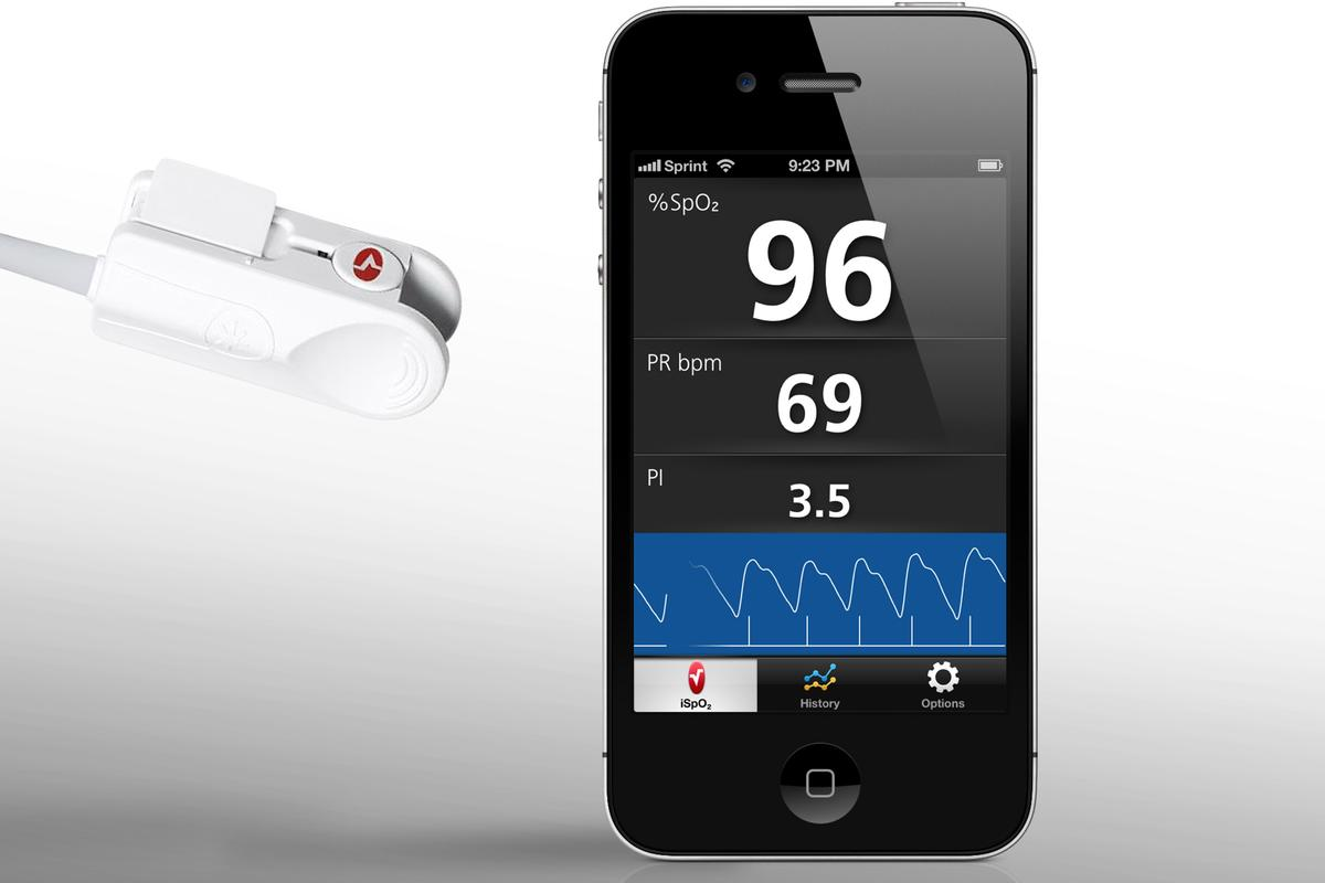 Masimo's iSpO2 connects to a free iPhone app