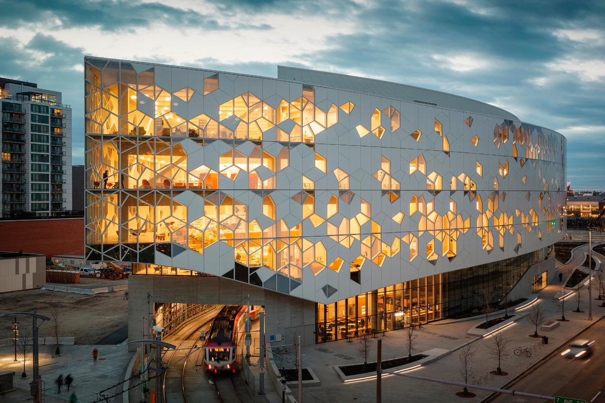 Snøhetta and Dialog's Calgary Central Library is one of six stunning libraries recognized in the 2019 AIA/ALA Library Building Awards