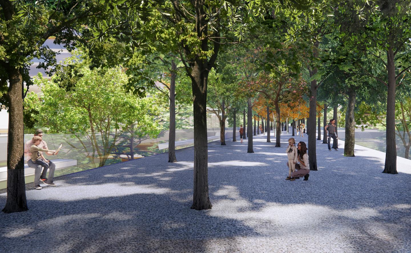 Parco Romana will include a tree-lined elevated walkway