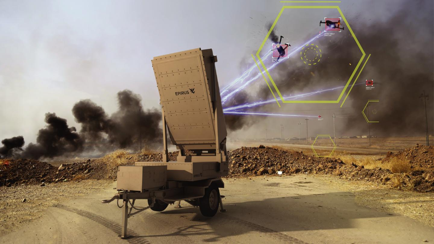 The Leonidas directed energy weapon stands ready to defend against swarms of drones all at once