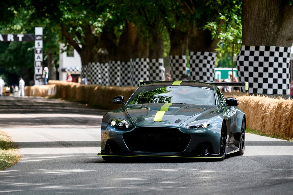 Aston Martin is using re-refined oil in the Vantage AMR Pro, seen here taking on the Goodwood Hillclimb