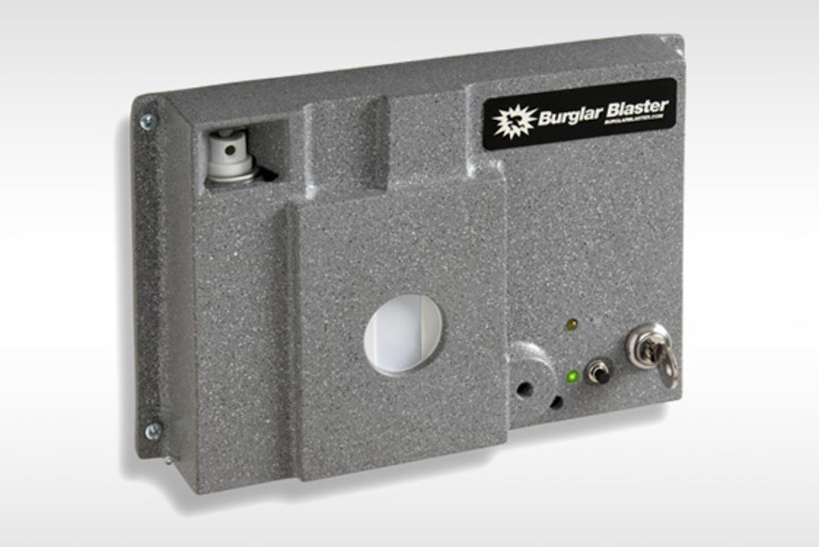 The Burglar Blaster is a home security system that uses pepper spray to incapacitate intruders (Photo: Heracles Research Corp.)