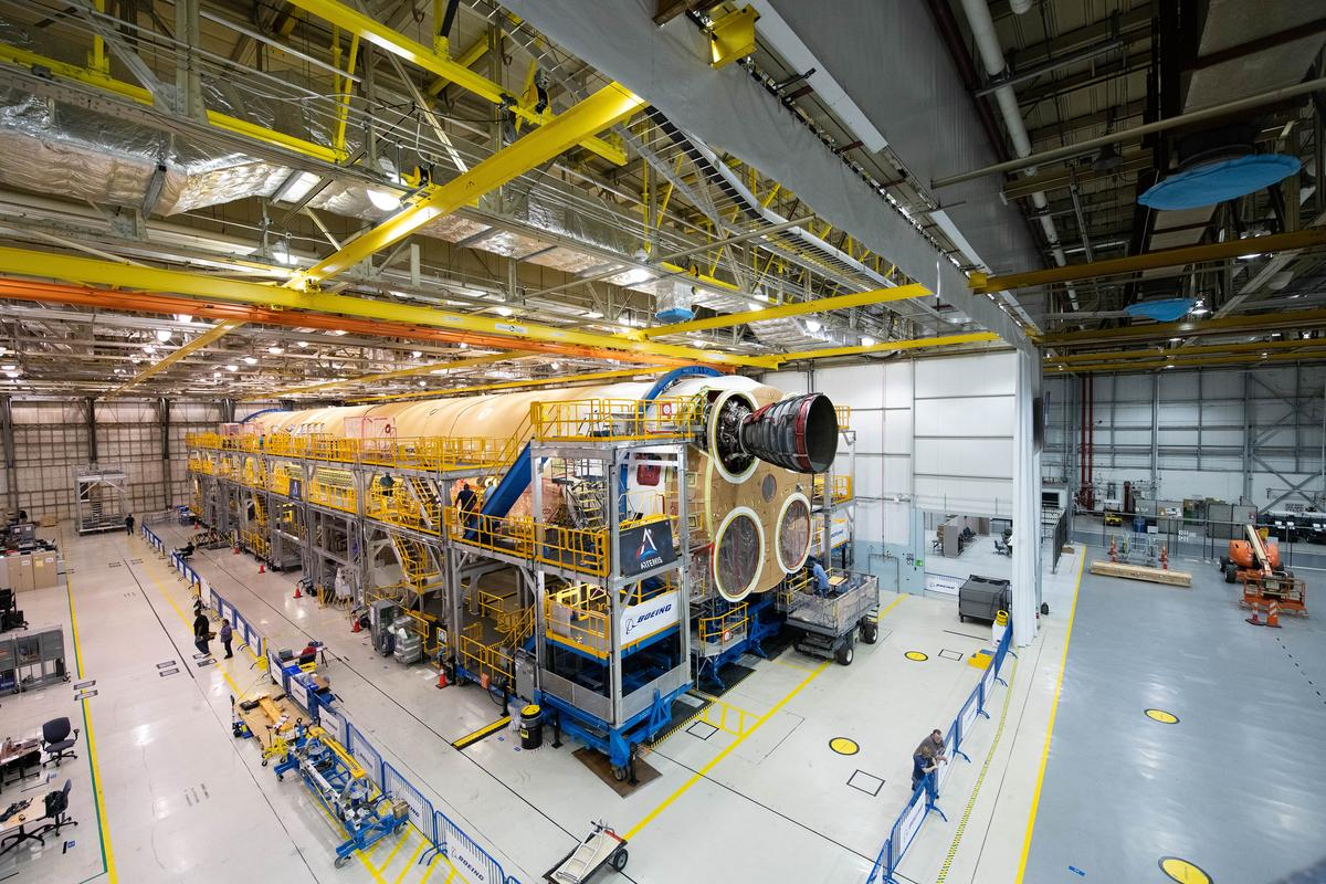 The Artemis I SLS core stage mated with the first of four refurbished Space Shuttle-era engines
