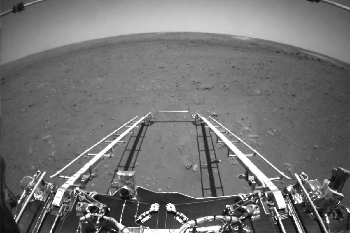 Tianwen-1's rover ramp deployed