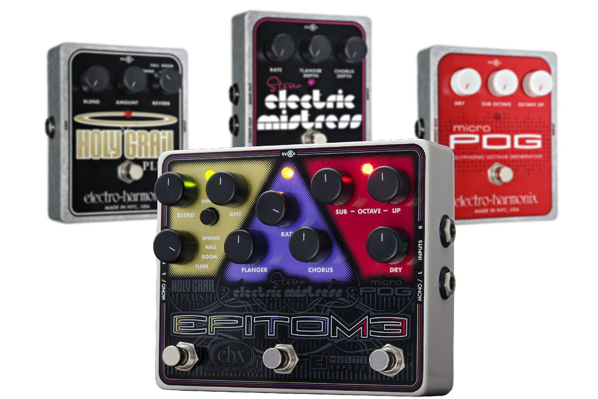Electro Harmonix has combined a power trio of stomps into a single compact unit named Epitome