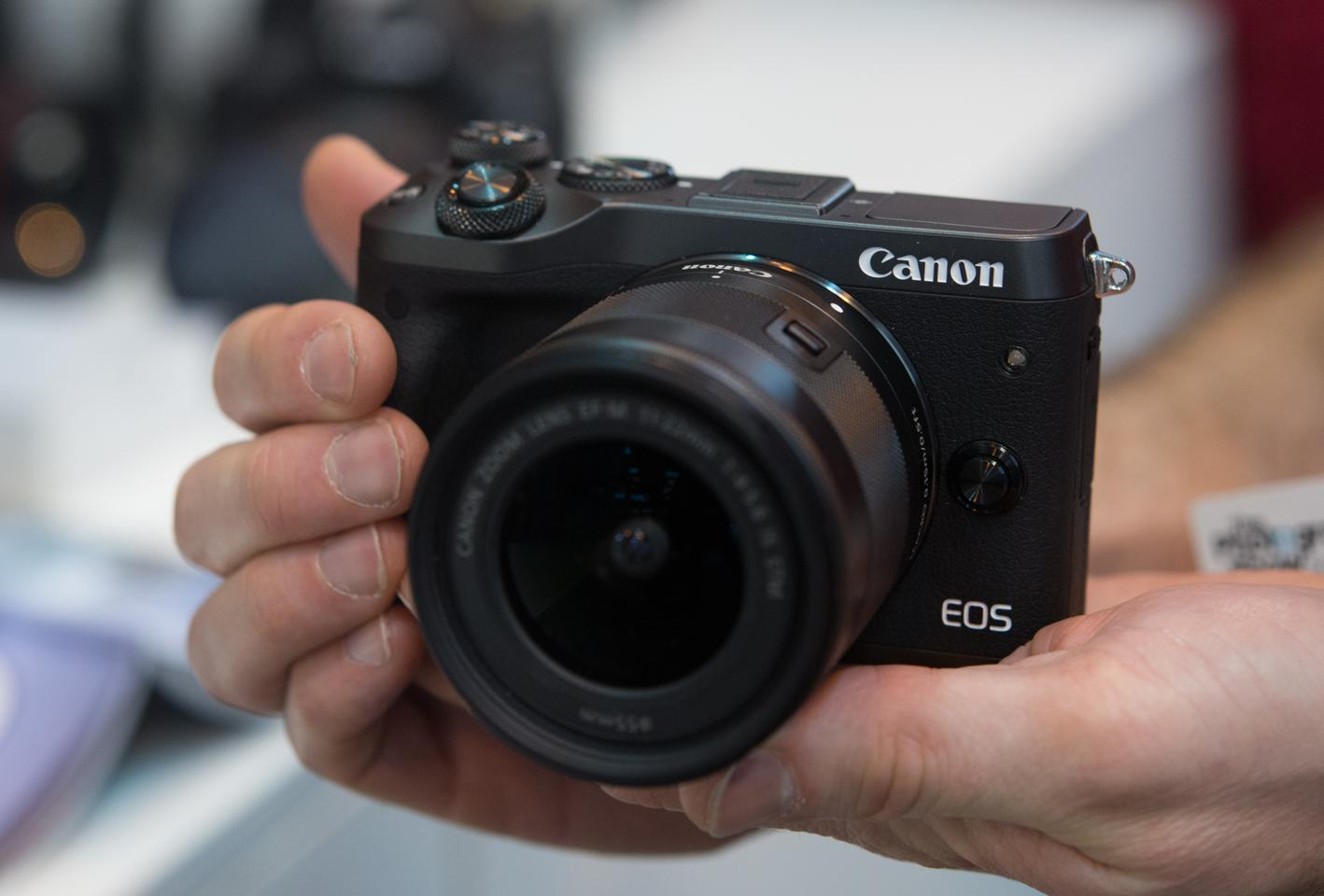 The Canon EOS M6 mirrorless camera features a 24-megapixel APS-C sensor