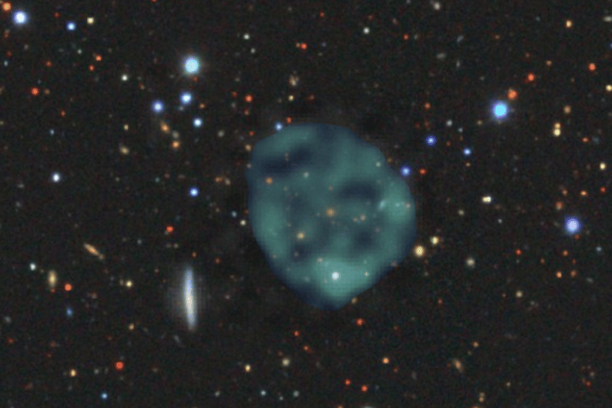 The first discovered odd radio circle (ORC), clearly visible in radio images as a blue/green blob