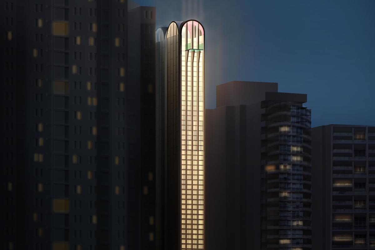 The Pencil Tower Hotel would reach a height of 100 m (328 ft) in downtown Sydney