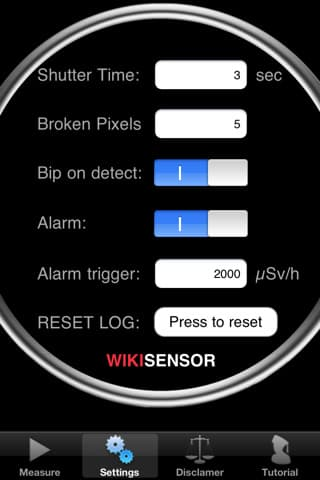 WikiSensor app settings