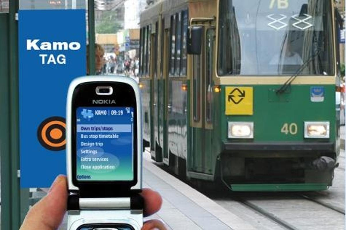 VTT's KAMO system communicates public transport information to your mobile phone.