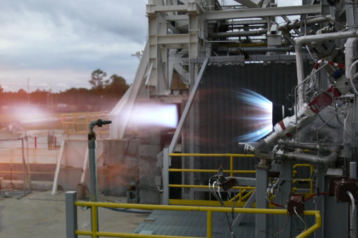 The test firing of the BE-3 engine (Photo: NASA)
