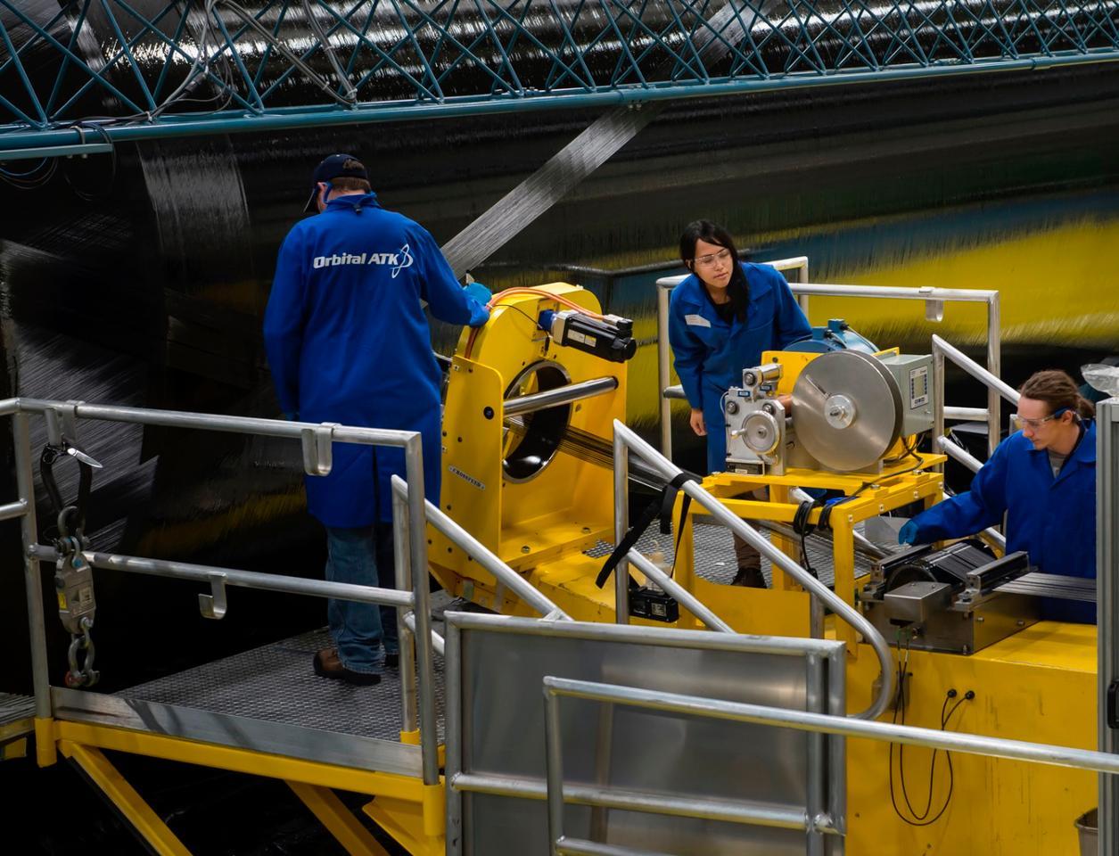 The solid-fuel rocket motor case from Orbital ATK