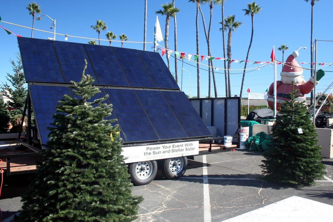 World's first - the Mobile Solar Station powers the perimeter lights and chainsaws to trim customer trees (Image: Stellar Solar)