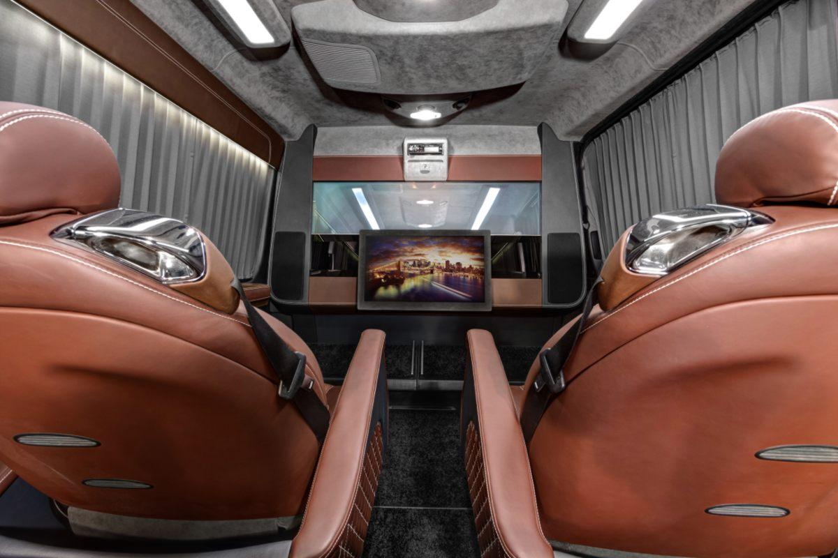 The modified Sprinter has a 32-in monitor