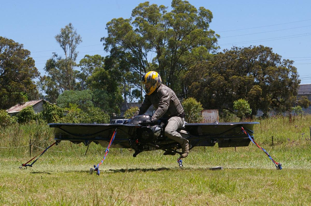 The Hoverbike prototype lifts off in a tethered flight test