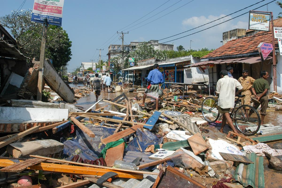The aftermath of a tsunami that struck Sri Lanka in 2004