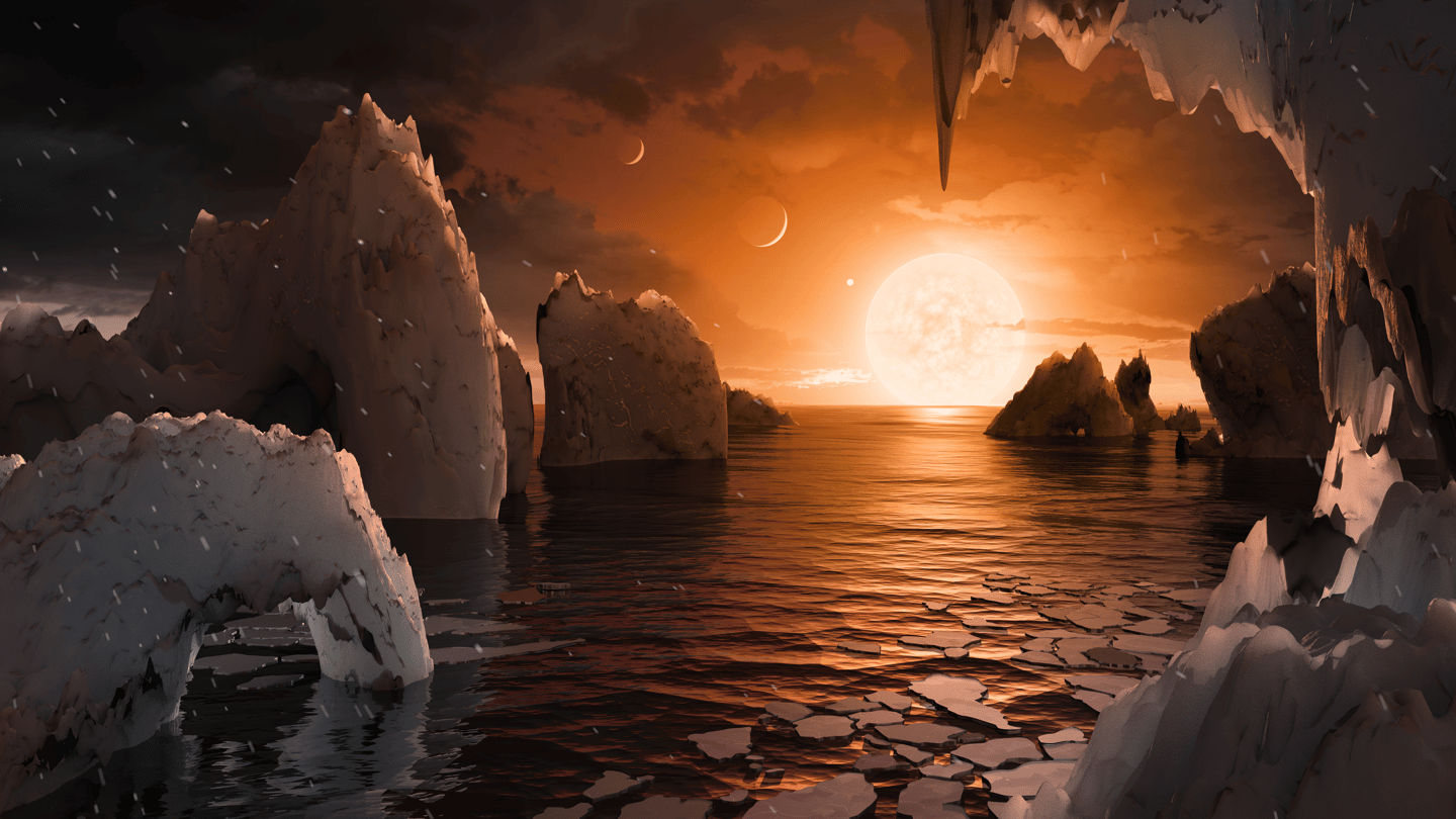 An artisticrender of a temperateTRAPPIST-1 f, which could also befrozen or stiflingunder different climate models
