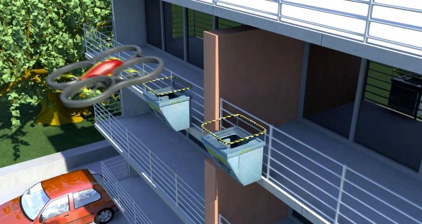 The Skynet system sees drones zero in to drop deliveries into a purpose-built net, guided by LEDs to ensure centimeter perfect accuracy