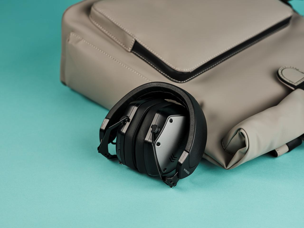 The M-200 ANC headphones feature a flexible hinge that allows them to collapse down for transport