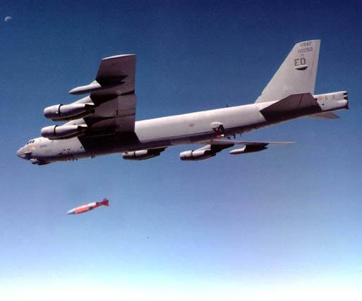The B-52 drops a GBU-57A/B
