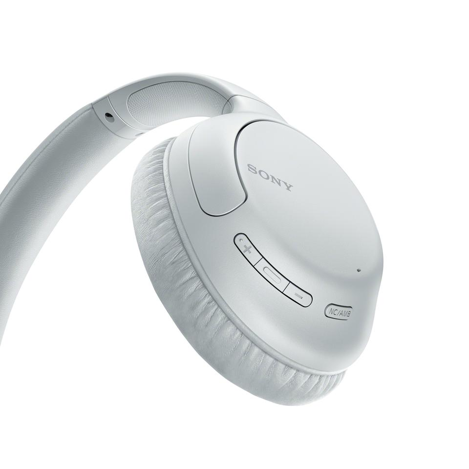 Buttons on the earcups are used to control the WH-CH710N noise-canceling wireless headphones
