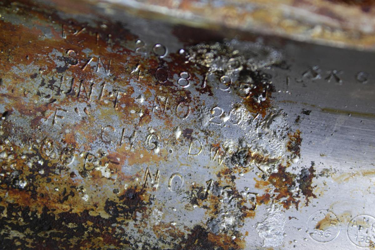 Serial numbers on engine recovered from the Atlantic