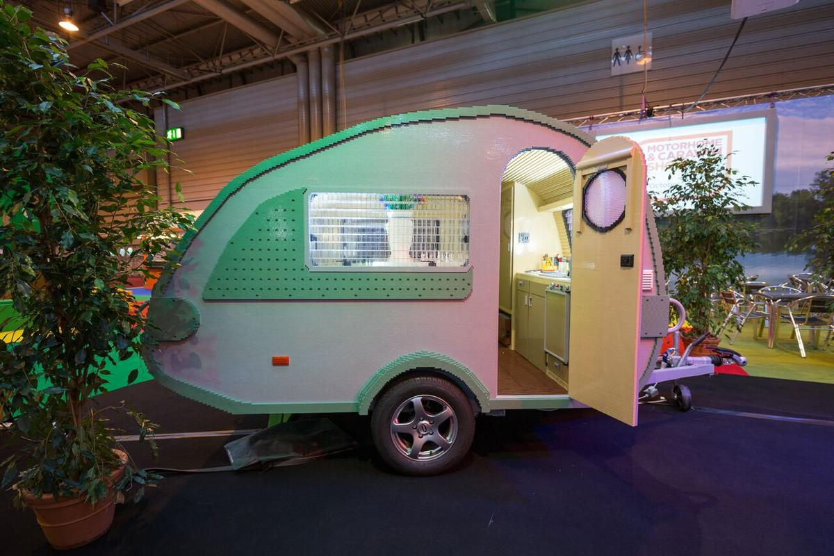 The Lego caravan is on display at the 2015 Motorhome & Caravan Show