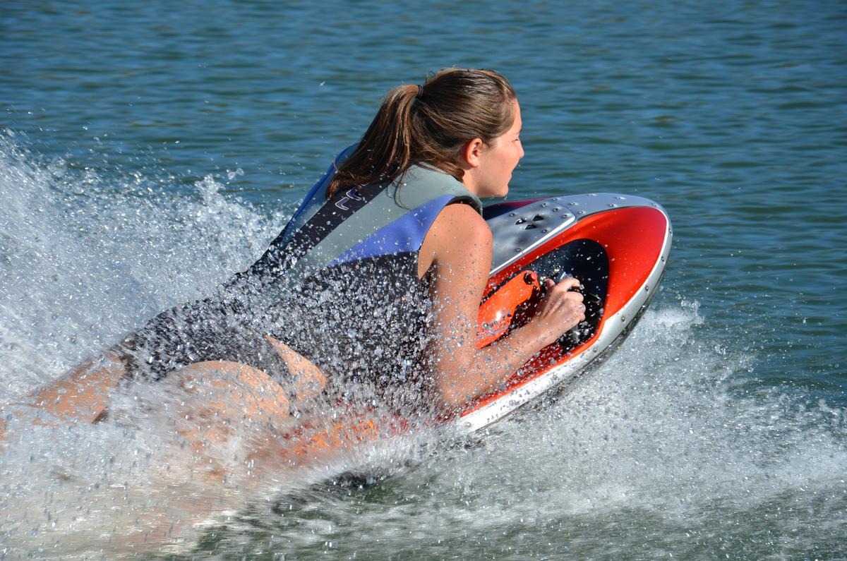 The Kymera powered body board can reach speeds of up to 25 mph (40 km/h)