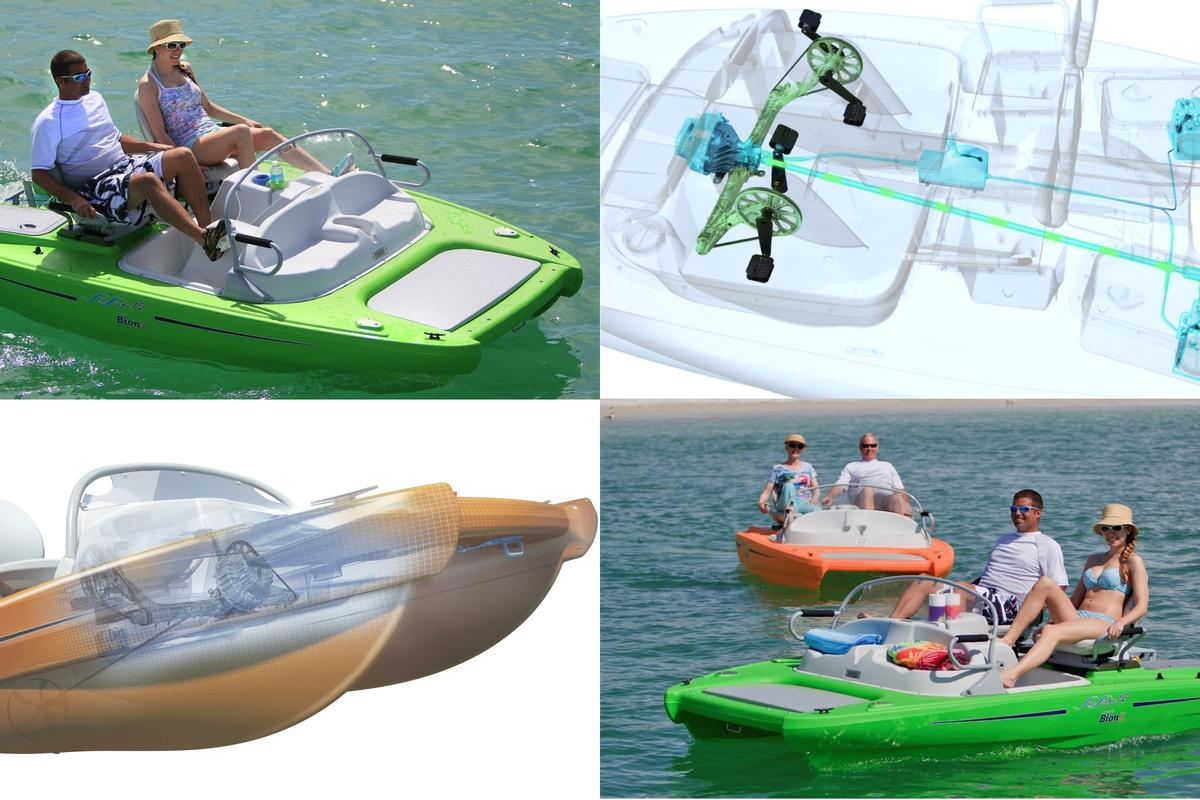 The SeaScape 12 is a four-seat, power-sensing, proportional pedal-assist watercraft with low-maintenance, no noise and no pollution. It will run at 5 knots for around 4-5 hours. It's a human-electric hybrid.