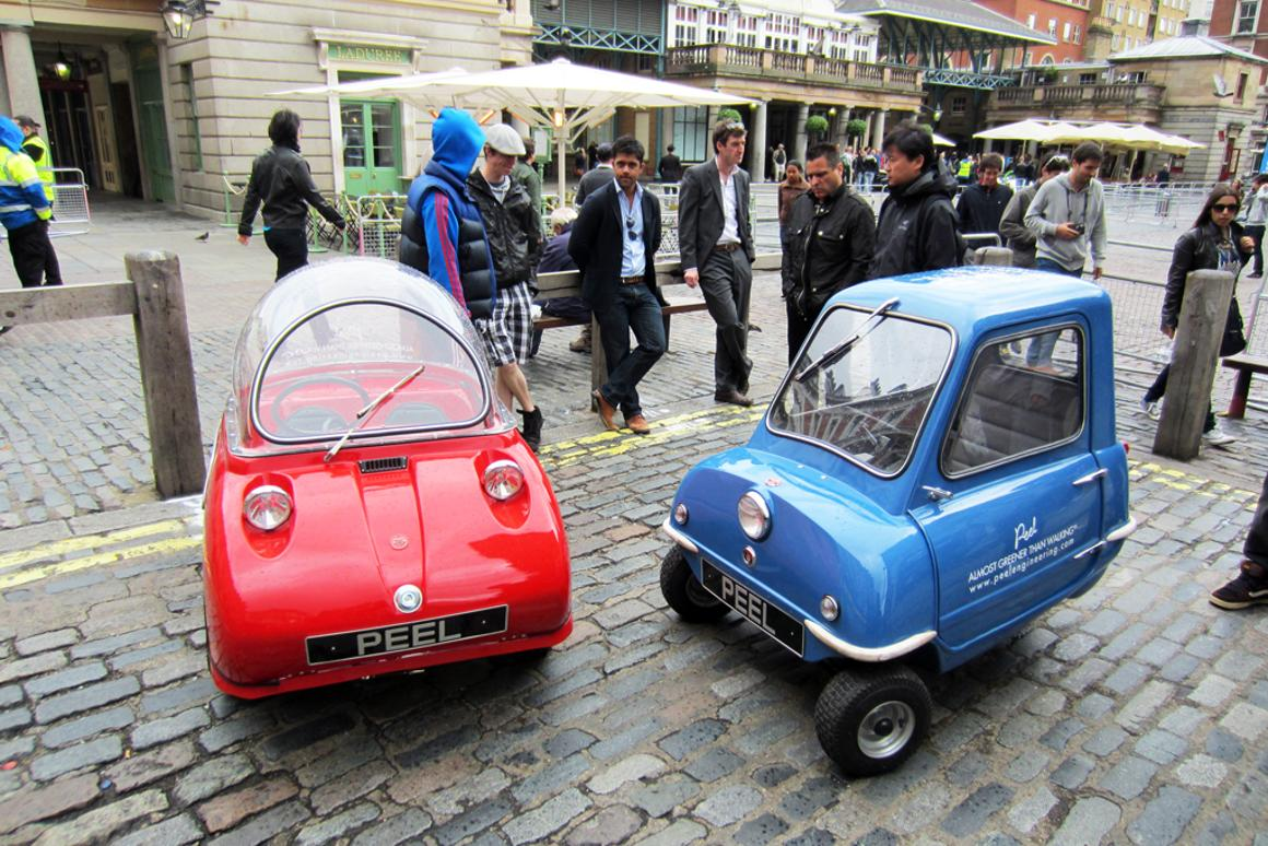 Originally manufactured in the 1960's, the world's smallest ever production car, the Peel P50 (right) and it's stablemate, the Trident (left) are getting a limited production run with updated powerplants