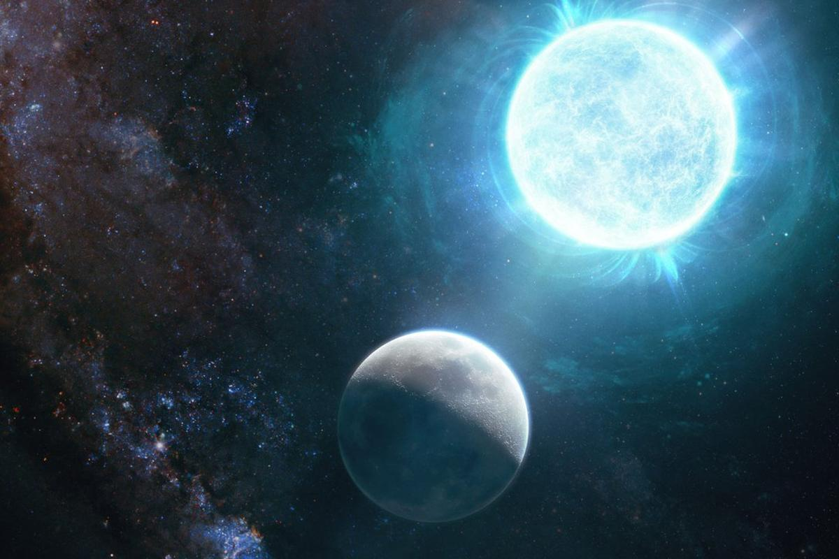 An artist's illustration comparing the size of the newly discovered white dwarf to our Moon. This makes it the smallest known white dwarf